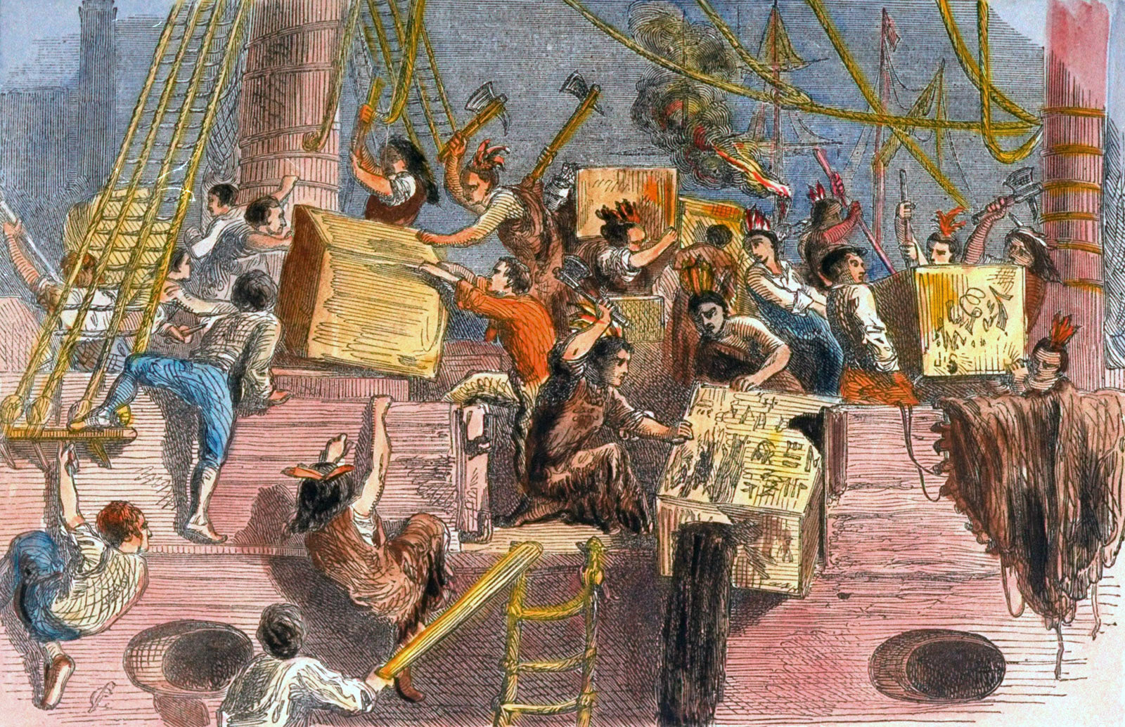 a review of nathaniel curriers lithography the destruction of tea at boston harbor the boston tea pa